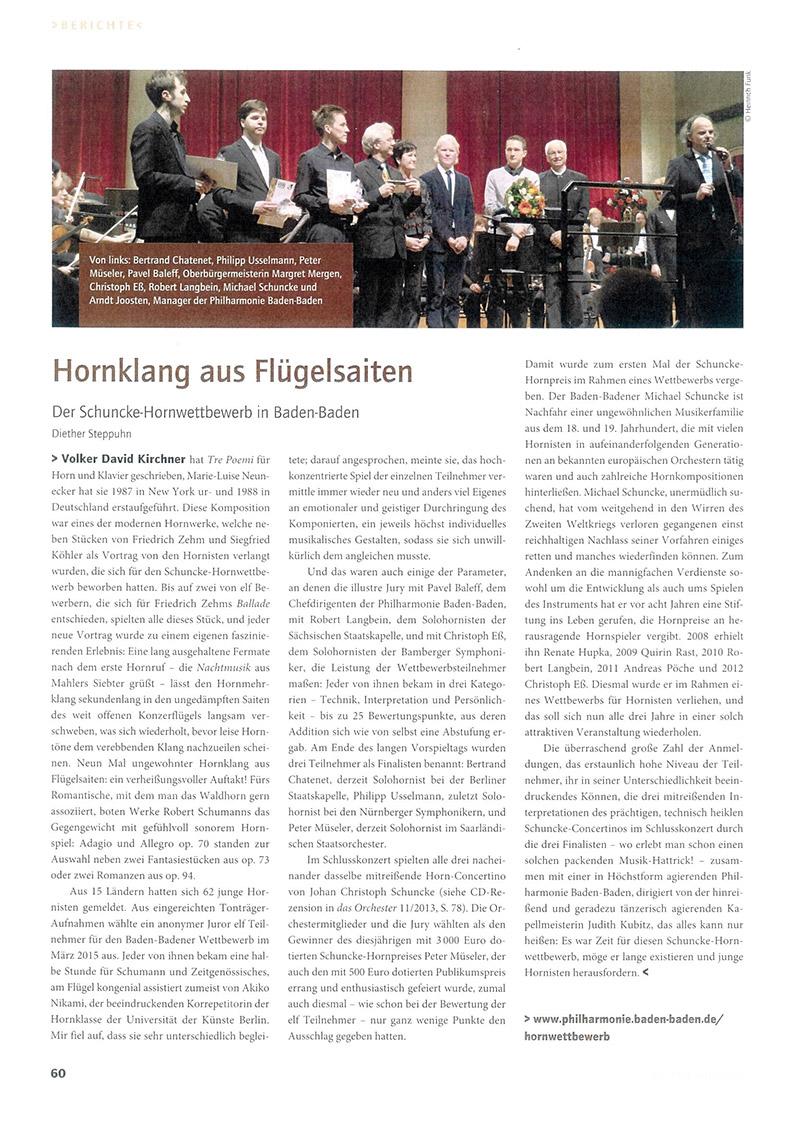 Artikel von Diether Steppuhn über die Michael-Schuncke-Stiftung und den Hornwettbewerb