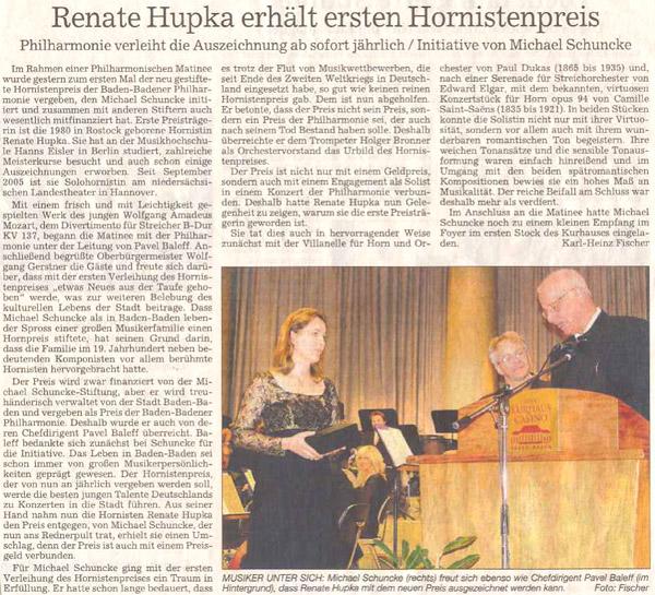 Artikel aus dem Badischen Tagblatt zur 1. Preisverleihung des Hornwettbewerbes