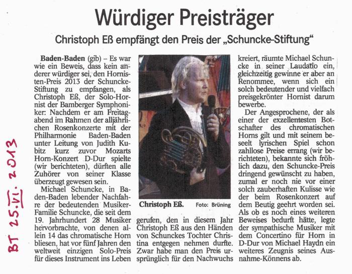 Artikel aus dem Badischen Tagblatt vom 25.06.3013