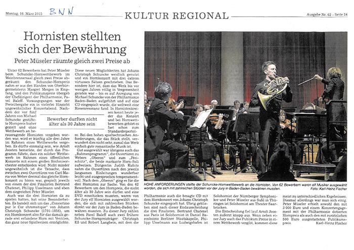 Artikel aus dem Badischen Neuesten Nachrichten vom 16.03.2015