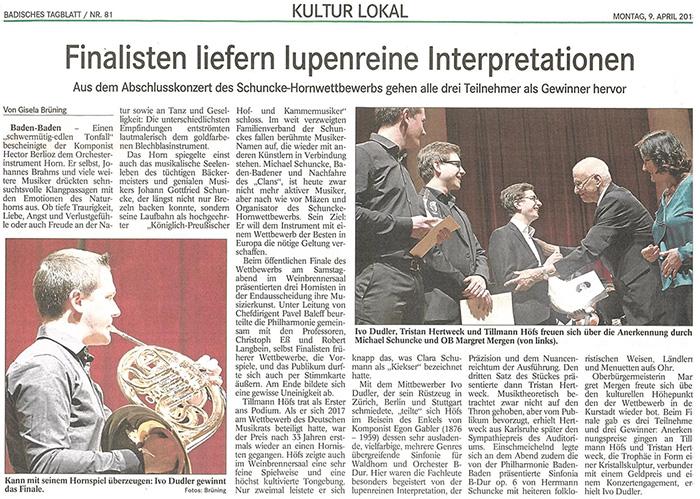 Artikel von Gisela Brüning zum Finale des 2. Schuncke-Hornwettbewerb
